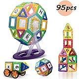 Lumturiマグネットブロック 磁石ブロック マグネット 積み木 ゲーム おもちゃ 立体パズル モデルDIY 知育おもちゃ 赤ちゃん 集中力/想像力/創造力を育てる知育玩具 車/観覧車セット 子供用 95ピース入り