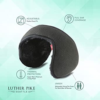 Luther Pike Seattle Ear Warmers For Men & Women: Adjustable Headband Warm Ear Muffs: Super Soft Winter Earmuffs