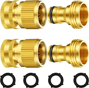 Garden Hose Quick Connect Fittings Solid Brass Quick Connector 3/4 Inch GHT Garden Water Hose Connectors with Extra Rubber Washers, Male and Female (2 Set)
