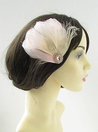 Rose Gold Blush Pink Cream Feather Fascinator Hair Clip Bridal Silver Vtg  9AS  EXCLUSIVELY SOLD 16e67e43193
