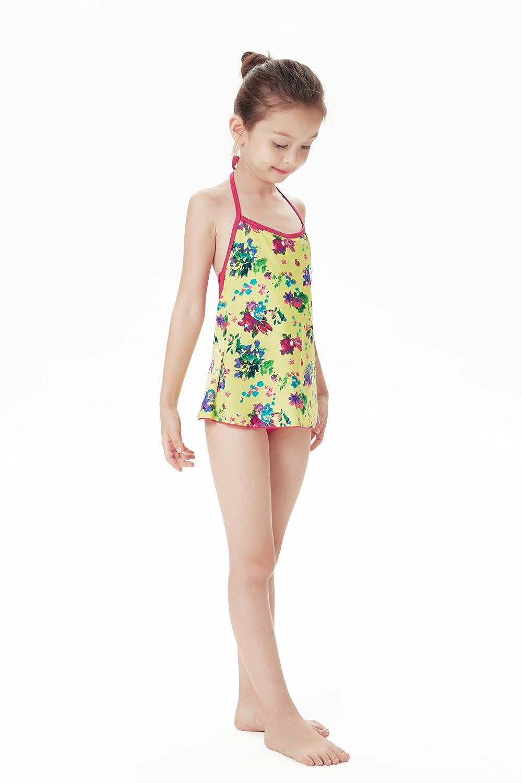 VECOO Big Girls One Piece Swimsuit Dress Skirted Bottom