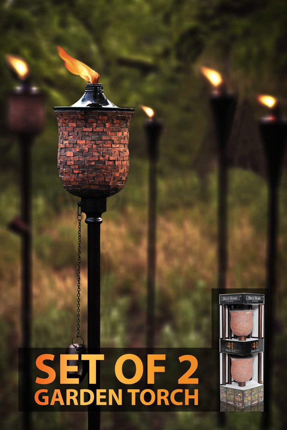 Tiki Torch (Pack of 2) 66-inch 4 in 1 Mosaic Tulip Garden Outdoor Metal Citronella Flame Torch/Tikki Torch/Marshal for Patio Yard Deck Path Lawn Backyard