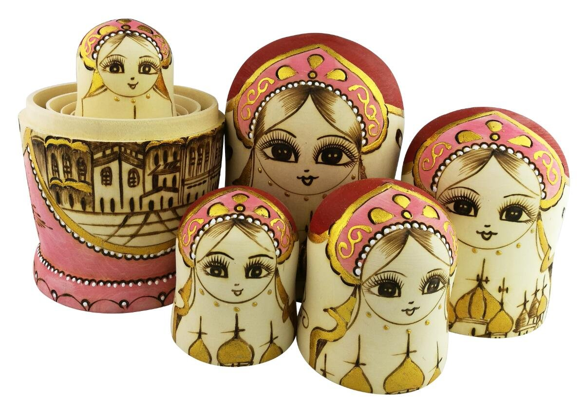 Set of 15 Wooden Girl Castle The Kremlin Traditional Russian Nesting Dolls Matryoshka Stacking Dolls Fun Toys for Kids Christmas Birthday Present Gift by Winterworm (Image #5)
