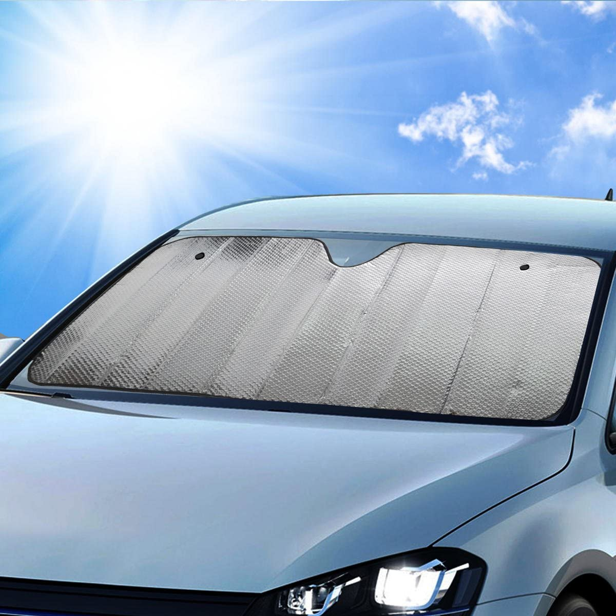 Single Bubble Front Windshield Shade Window Shade- Accordion Folding Auto Sunshade for Car Truck SUV-Blocks UV Rays Sun Visor Protector-Keeps Your Vehicle Cool