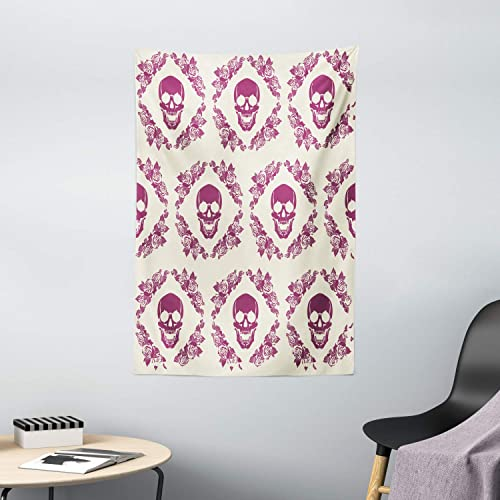 Ambesonne Sugar Skull Tapestry, Monochrome Style Calavera Inspired Surround by Circular Floral Wreath Print, Wall Hanging for Bedroom Living Room Dorm Decor, 40 X 60 , Fuchsia Cream