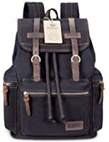BLUBOON Canvas Vintage Backpack Leather Casual Bookbag Men Rucksack