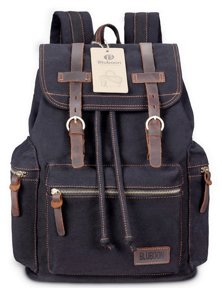 bluboon canvas vintage backpack leather casual bookbag men. Black Bedroom Furniture Sets. Home Design Ideas