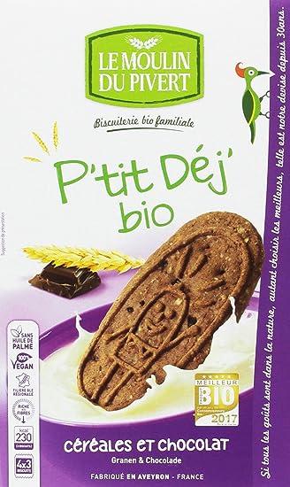 Le Moulin Du Pivert Galletas Desayuno de Cereales y Chocolate - Paquete de 12 x 190