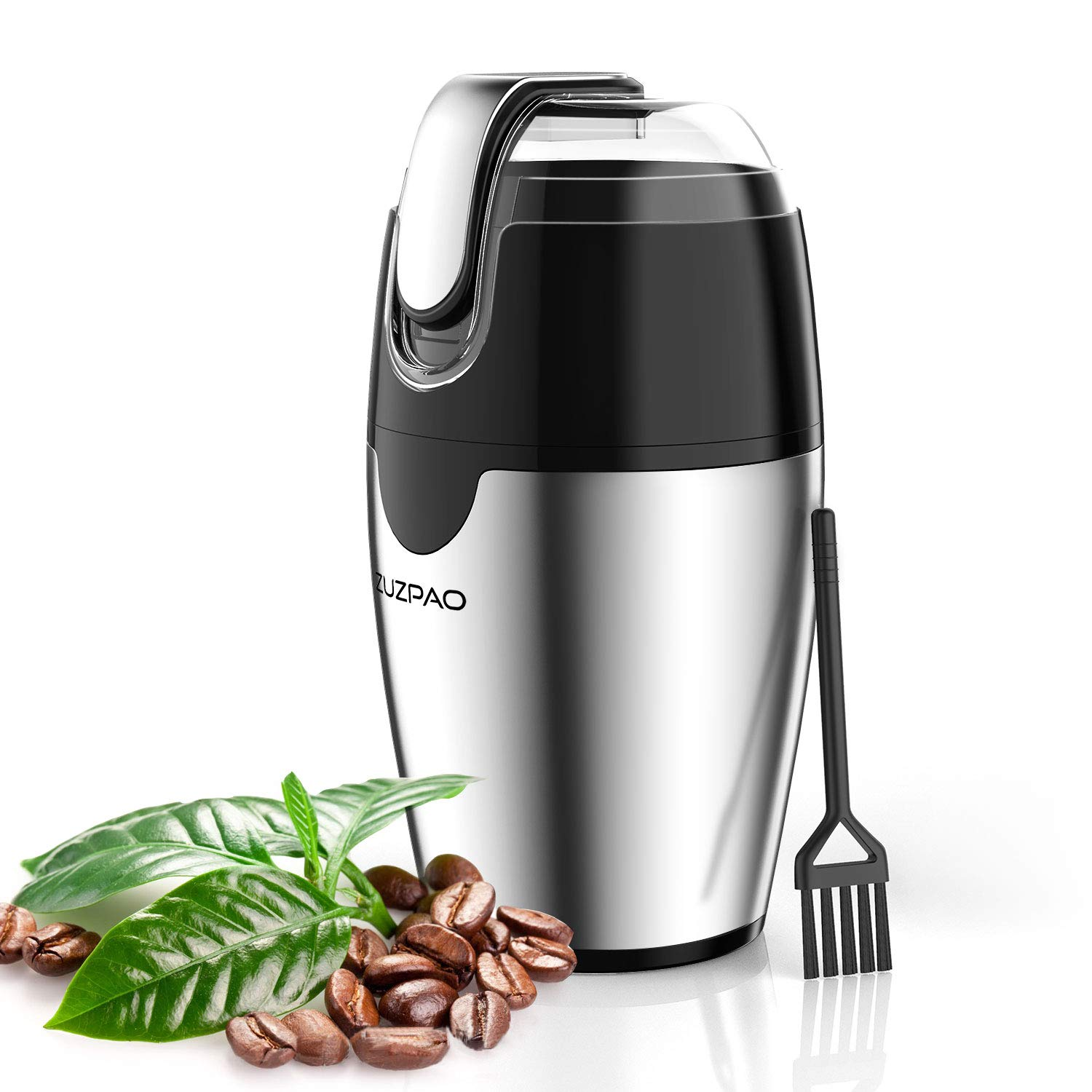 Coffee Grinder Electric, ZUZPAO Spice Stainless Steel Blade Grinder Mills 200W, 2.5 Ounce Capacity Fast Grinding for Coffee Beans, Seeds, Herbs, Pepper, Grains, and Nut by ZUZPAO
