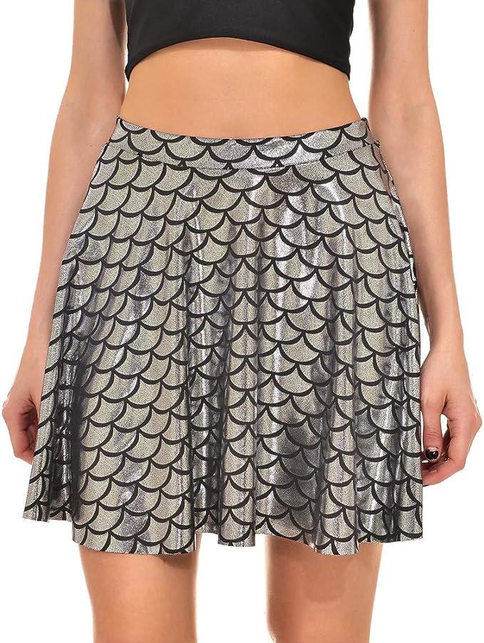 Beauty7 Falda de Patinador para Mujer con Escamas de pez, Mini ...