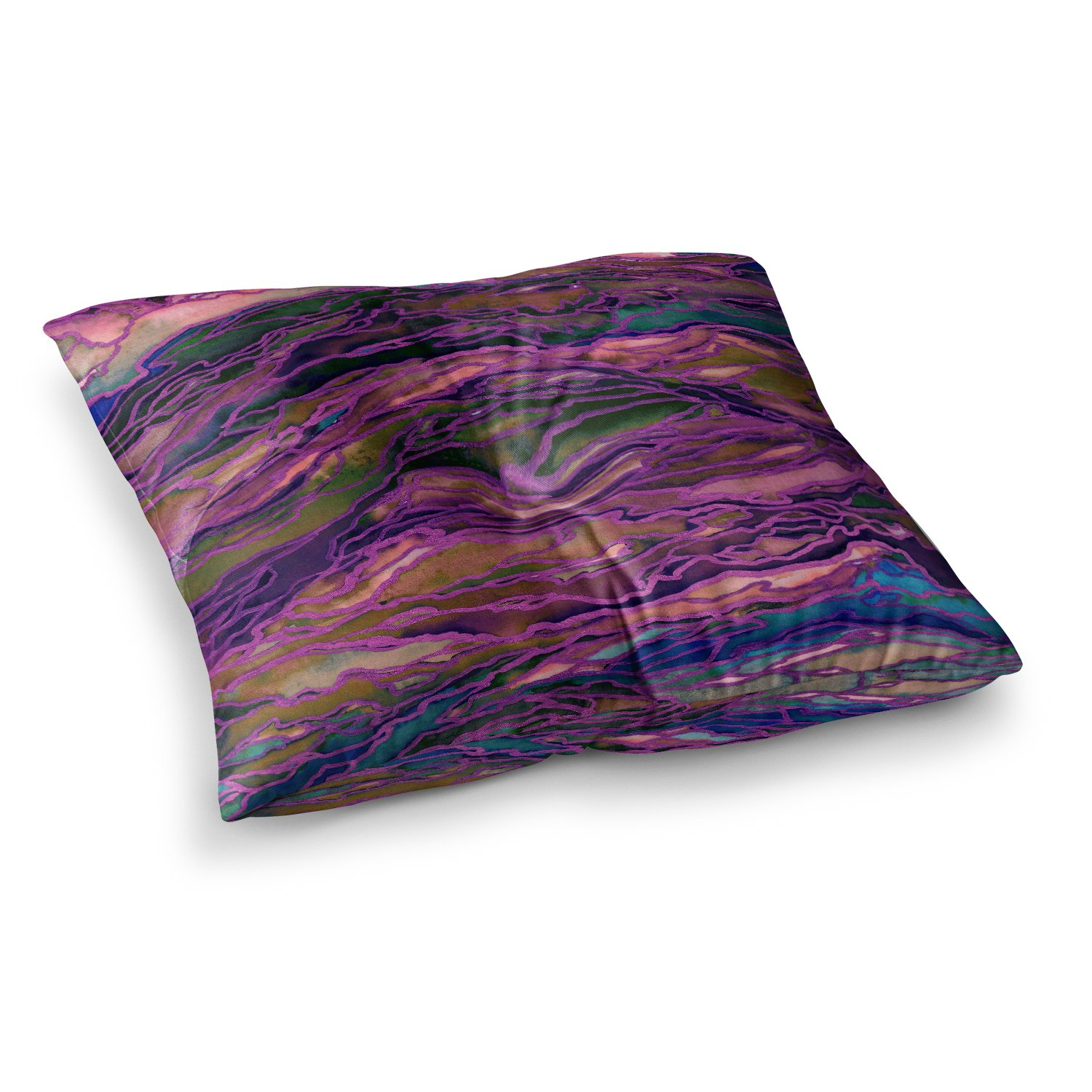 23 x 23 Square Floor Pillow Kess InHouse EBI Emporium Marble Idea-Rich Jewel Tone Purple Pink