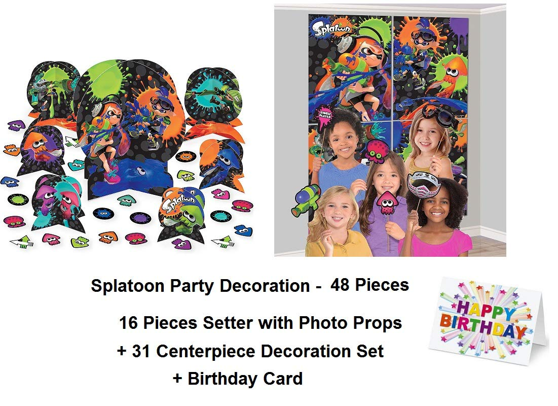 Splatoon Paint Guns Party Centerpiece Scene Setter Wall Decoration with Photo Props and Birthday Card Favors Decoration Partyware 48 Pieces
