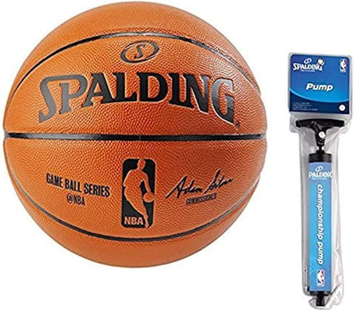 "Spalding NBA Indoor/Outdoor Official Size Replica Game Ball (Official Size 7 (29.5"") Bundle) : Sports & Outdoors"