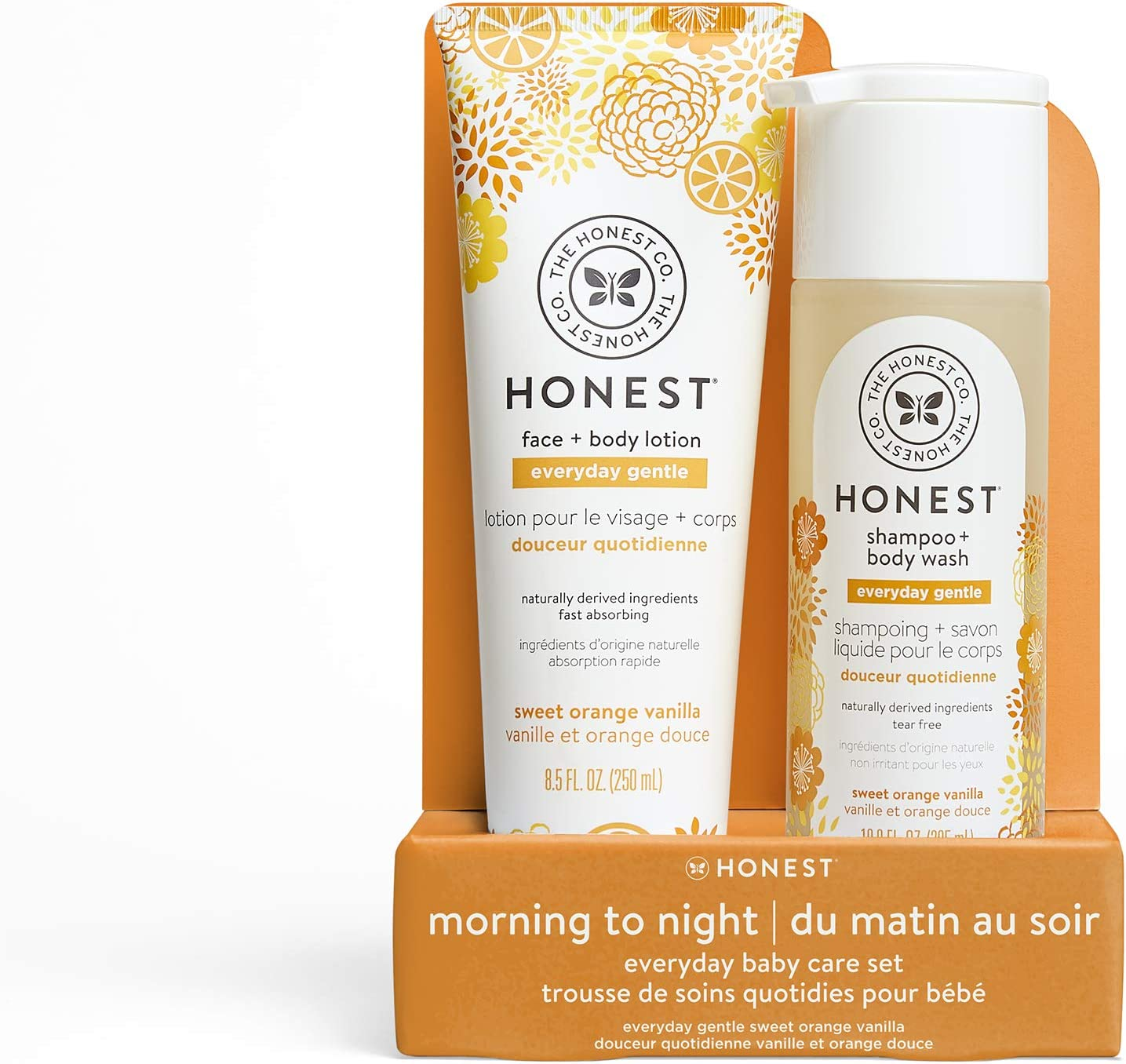 The Honest Company 2Piece Sweet Orange Vanilla Shampoo + Body Wash (10 Fl. Oz.) Face + Body Lotion (8.5 Fl. Oz.) Bundle | Tear Free | Naturally Derived Ingredients | sulfate & Paraben Free Baby Bath