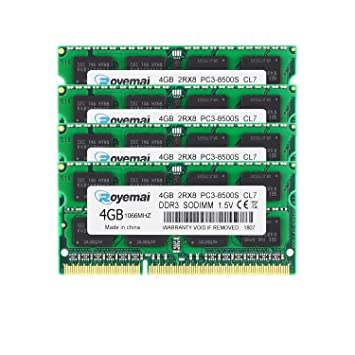16GB 4x4GB PC3-8500 1066MHz DDR3 Memory for Laptops Notebooks