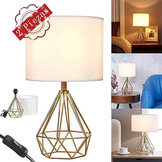 2 Piezas Lámpara de mesilla de noche dorada Sala de estar Dormitorio Base de metal, lámparas de mesa con pantalla de tela blanca: Amazon.es: Iluminación