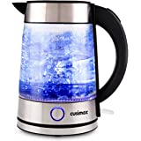 Cusimax 7-Cup Glass Electric Kettle,Auto Shut Off Illuminating Water Kettle,CMWK-150,1.7L,Sliver