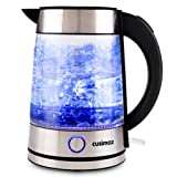 Cusimax 7-Cup Glass Water Kettle,Auto Shut Off Illuminating Electric Kettle,CMWK-150,1.7L,Sliver