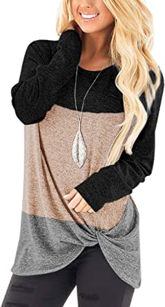 Magritta Womens Comfy Casual T Shirts Long Sleeve V Neck Tunic Tops Loose Twist Knot Blouse