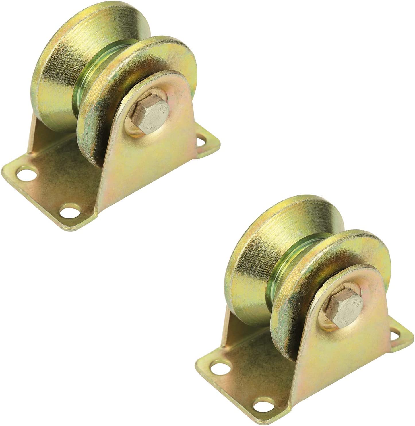 """2"""" V Groove Rigid Caster Wheel for Industrial Machines Carts,Sliding Gate,Groove Wheel Heavy Duty Rigid Caster with Bracket, Loading Capacity 660 lbs, Pack of 2"""