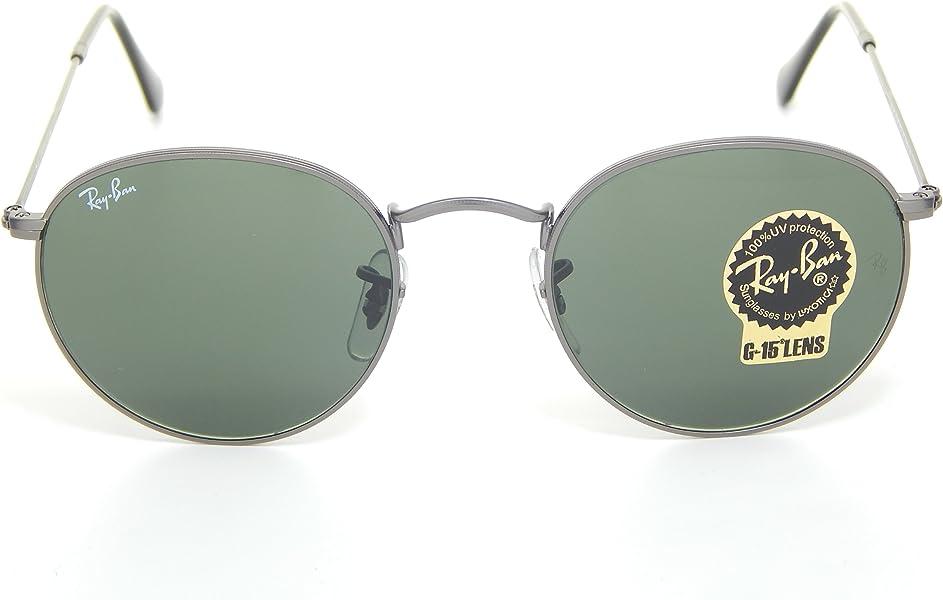 8c8ba81652b New Ray Ban Round RB3447 029 Matte Gunmetal Crystal Green Lens 50mm  Sunglasses