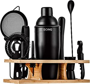 Soing 11-Piece Black Bartender Kit,Perfect Home Cocktail Shaker Set for Drink Mixing,Stainless Steel Bar Tools with Stand,Velvet Carry Bag & Cocktail Recipes Cards (Black)