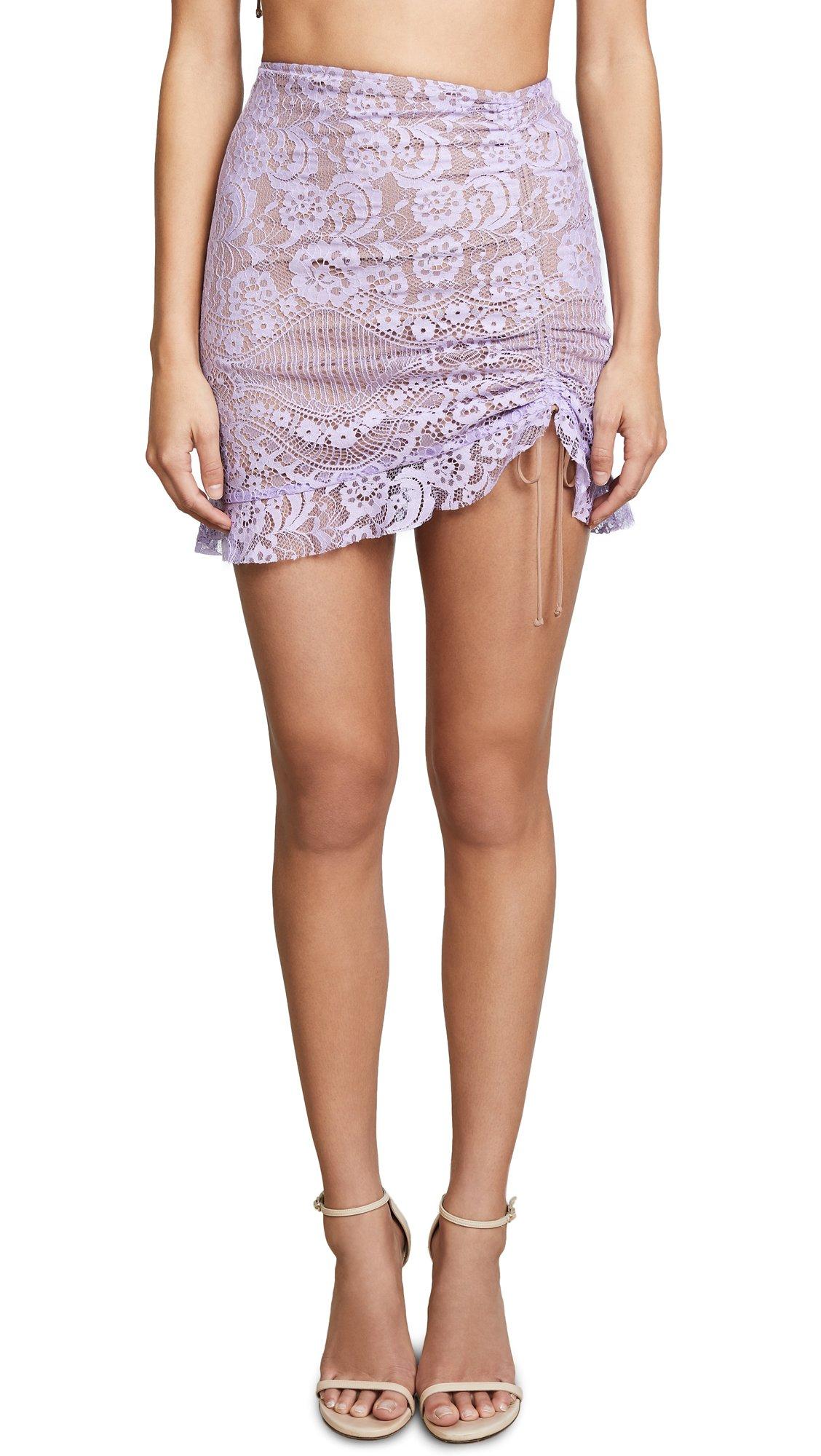 For Love & Lemons Women's Valentina Lace Miniskirt, Lavender, X-Small