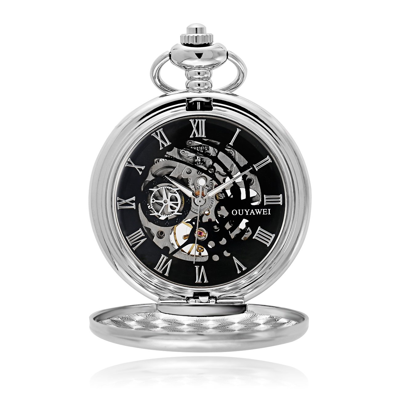 Antique Male Pocket Watch Mechanical Hand-Wind Skeleton Dial Fob Watch Christmas Gift (Silver Black)