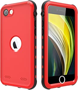 """Waterproof Case for iPhone SE (2nd gen - 2020), IP68 iPhone SE case with Built-in Screen Protector, Heavy Duty Full Body Case for iPhone SE 2020 4.7"""" (red)"""
