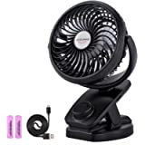 ADDSMILE Battery Operated Clip On Fan Rechargeable Desk Fan for Baby Stroller Car Gym Home Office Outdoor Traveling and…