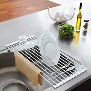 YAMAZAKI home Plate Folding Sink Drainer Rack, White, Large