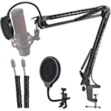Hyperx Quadcast Mic Stand with Pop Filter - Scissor Mic Boom Arm and 3 Layers Windscreen Compatible with Hyperx Quadcast S to