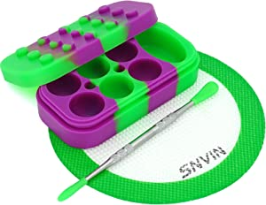 SNVIN Creative module Silicone Wax Concentrate Containers Non-stick Jar Comes with a Heat-Resistant Silicone Pad and Carving tool Set (Green/Purple)