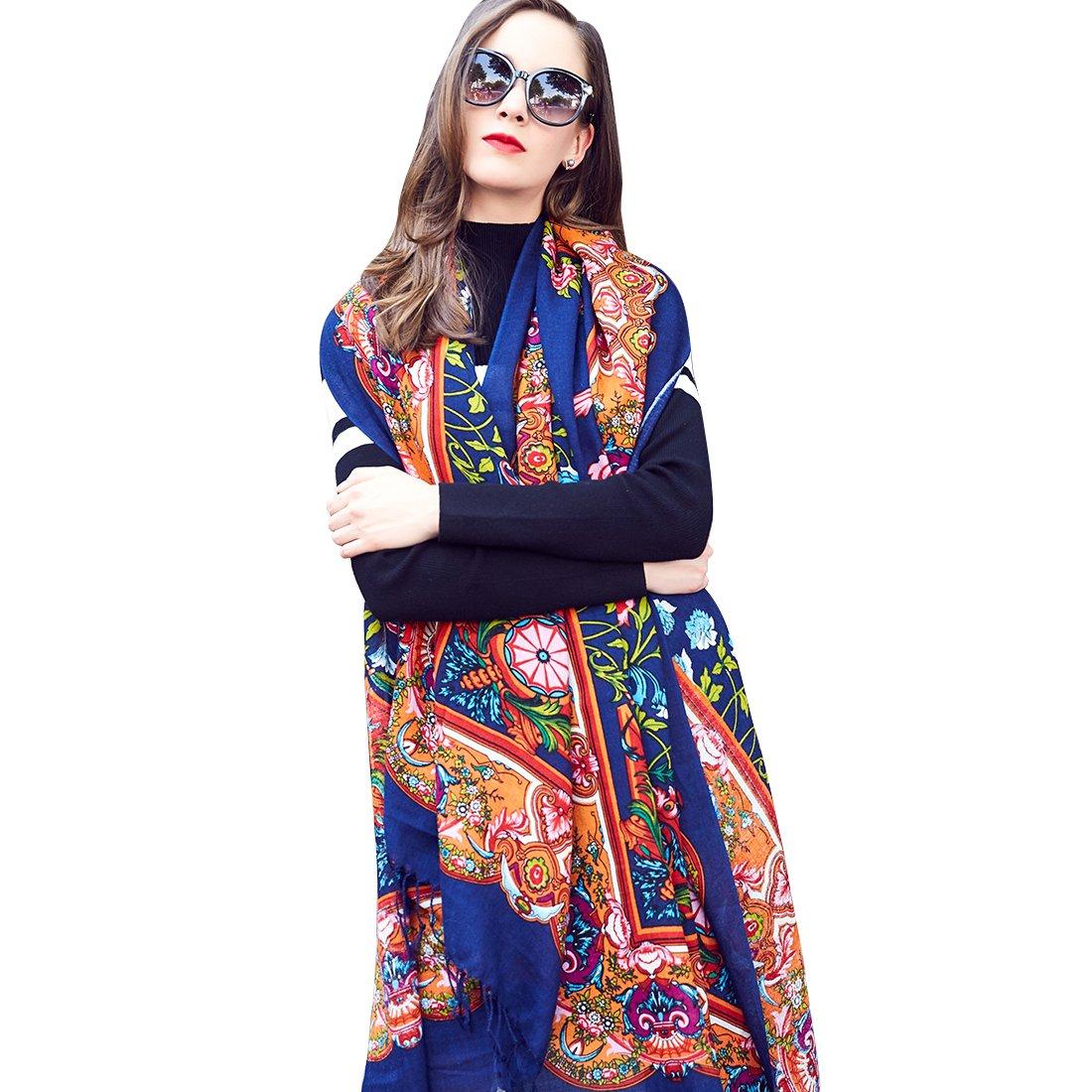 DANA XU 100% Pure Wool Women's Large Traditional Cultural Wear Pashmina Scarf (Navy Blue)