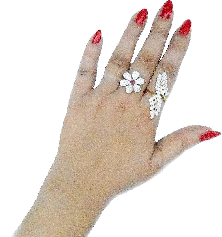 Geode Delight Gold American Diamond Double Finger Ring For Women ...