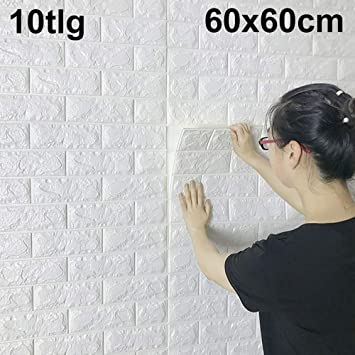 10X 3D Schaum Selbstklebende Tapete Wandpaneele Ziegelstein Wandaufkleber DE