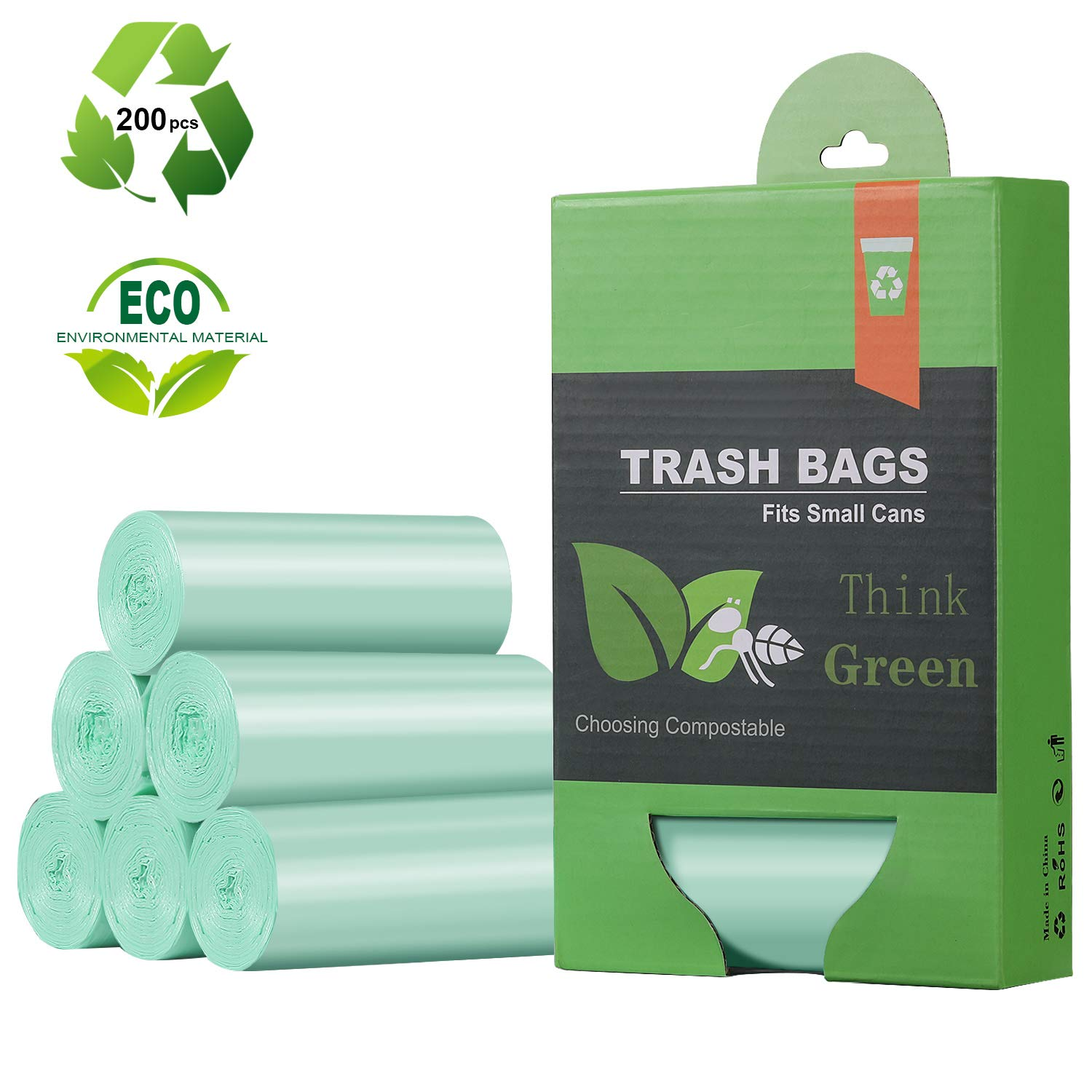 1.2 Gallon Small Trash Bags Garbage Bags, Mini Compostable Strong Bathroom Wastebasket Can Liners trash Bags for Home Office Kitchen fit 5 Liter 5L,1 Gal