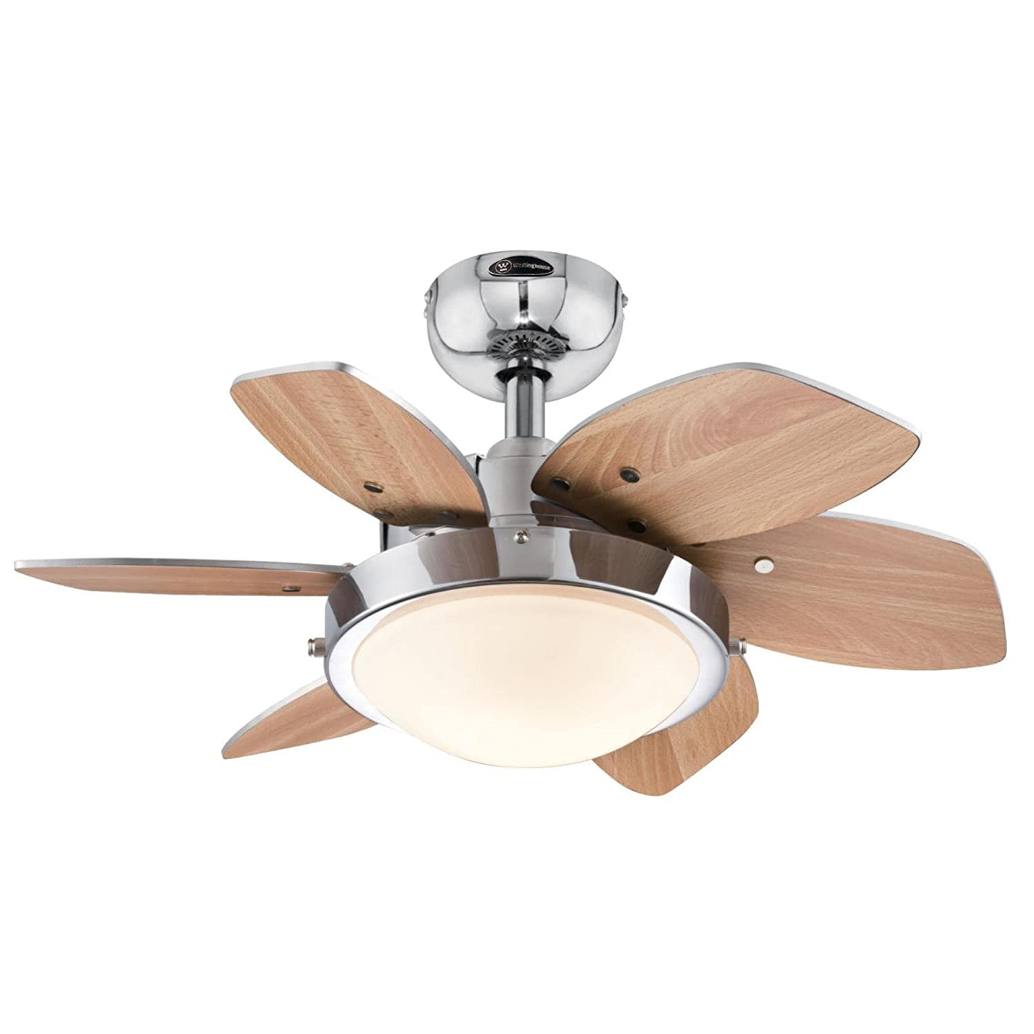 Quince 24 Inch Chrome Indoor Ceiling Fan Light Kit with