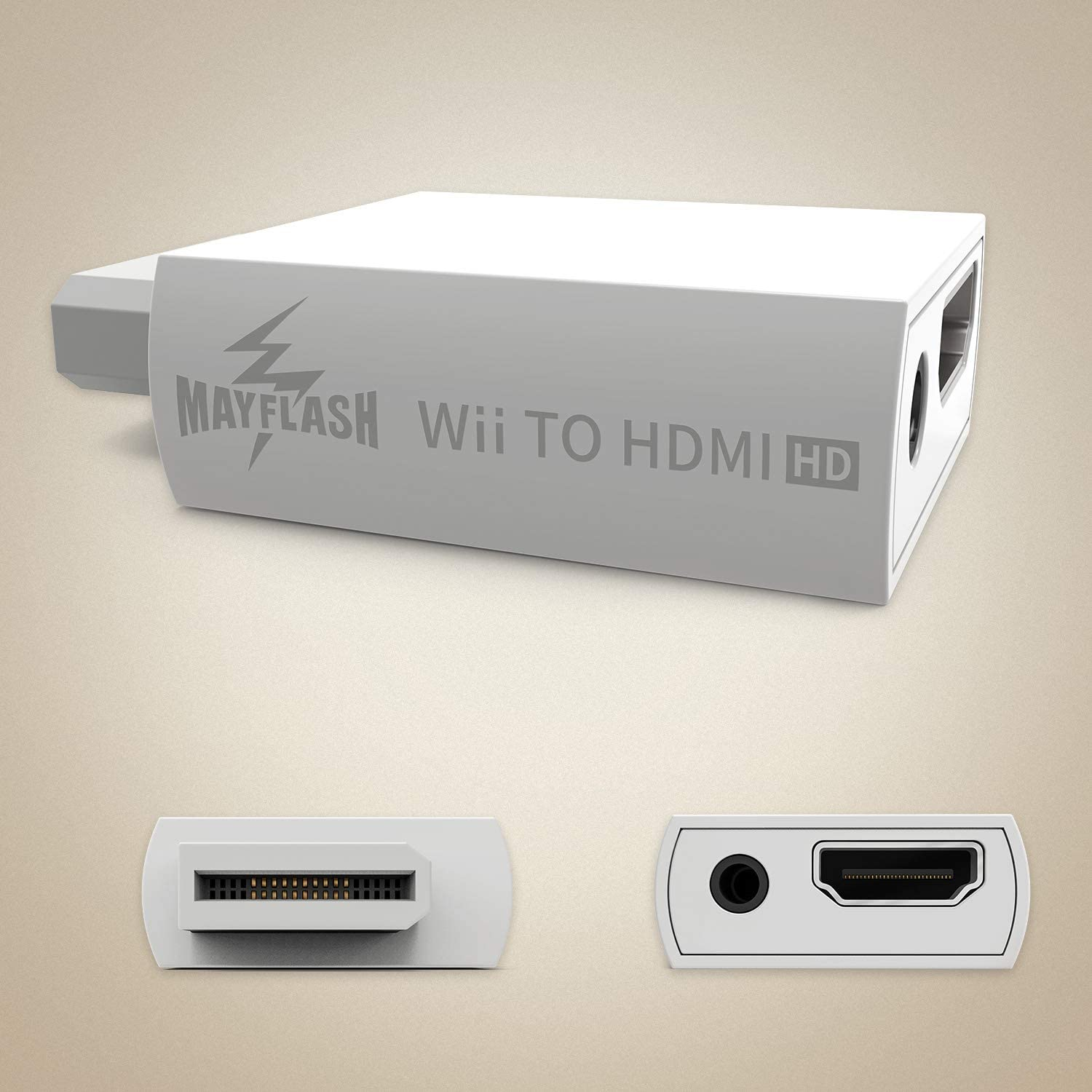 MAYFLASH Wii to HDMI Converter 1080P for Full HD Device, Wii HDMI Adapter with 3,5mm Audio Jack&HDMI Output Compatible with Nintendo Wii, Wii U, HDTV, Monitor-Supports All Wii Display Modes 720P, NTS