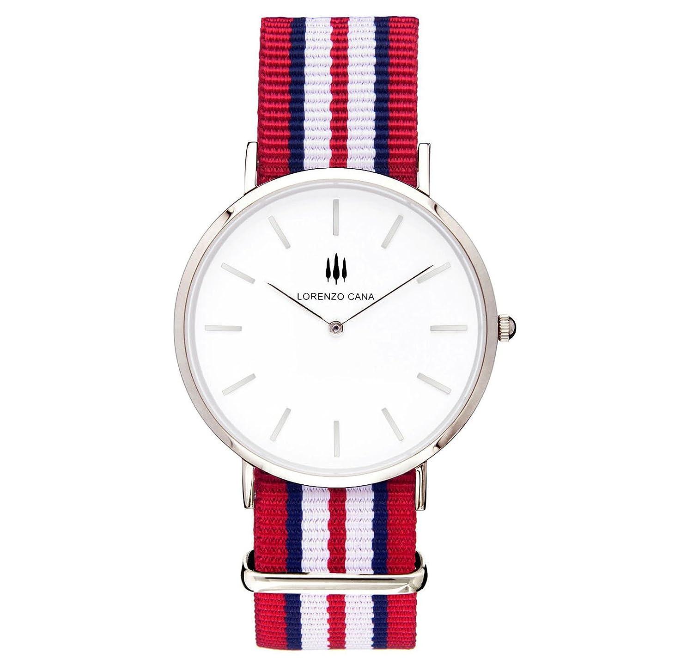 LORENZO CANA Luxus Damen Armbanduhr Schweizer Uhrwerk Saphirglas 40 mm Durchmesser Edelstahl Nato Armband Uhrenbox
