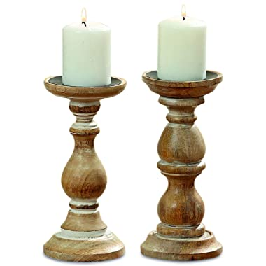 WHW Whole House Worlds Rustic Stockbridge Wooden Candle Holders, Set of 2, Spiked Metal Top, Rounded Turned Columns, Sustainable Mango, Distressed with Vintage Style White Wash, 9 H x 4 D Inches