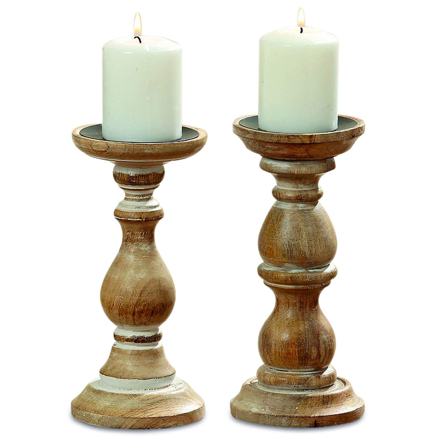 The Rustic Stockbridge Candle Holder Set of 2, Rounded Turned Columns, Sustainable Wood, Distressed with Vintage Style White Wash, 9 H x 4 D Inches, By Whole House Worlds
