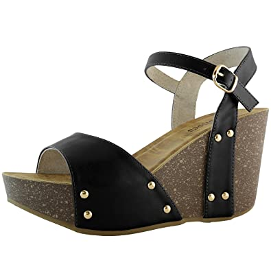 DailyShoes Womens Slide on Wedge Comfort Chunky Platform Open Toe Casual  Sandals Buckle Shoes       Black