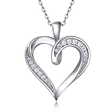 Billie Bijoux 925 Sterling Silver Infinity Love Heart Necklace Platinum Plated Round CZ Diamond Fine Woman's jewelry 18