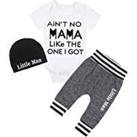 DONWEN Newborn Baby Boy 3PC Formal Ladies I Have Arrived Outfit with Beard Pants