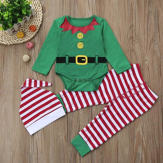 ❤ Conjunto Romper para bebé Navidad, 3 Piezas Infant Baby Boys Girls Romper Navidad + pantalón + Conjunto de Trajes de Sombrero Absolute: Amazon.es: Ropa ...