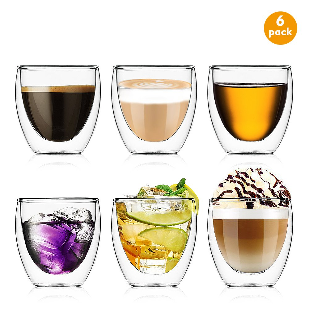 Esnow 2.7 Ounce/80 milliliter Double Wall Glass/Mug Espresso Coffee Cups Clear and Durable Glass Heat-resistance Cups (Set of 6 )
