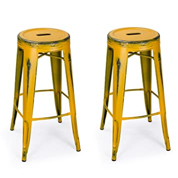 Homebeez 30 Inch Vintage Metal Counter Stools Yellow Industrial Round  Barstools Rustic,set Of 2