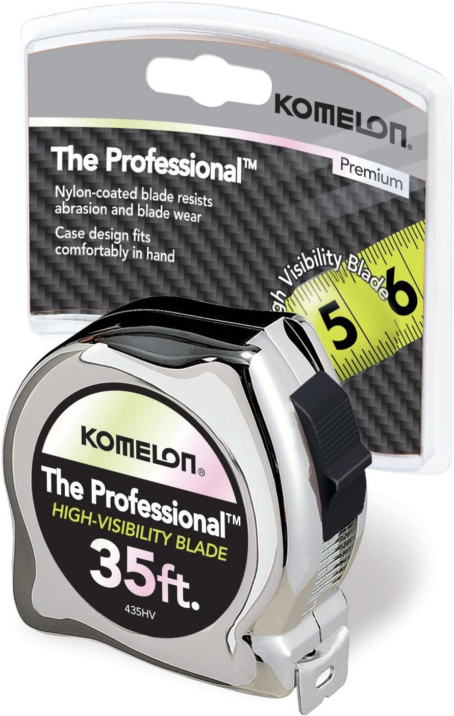 35-Feet by 1-Inch, Komelon 435HV High-Visibility Professional Tape Measure