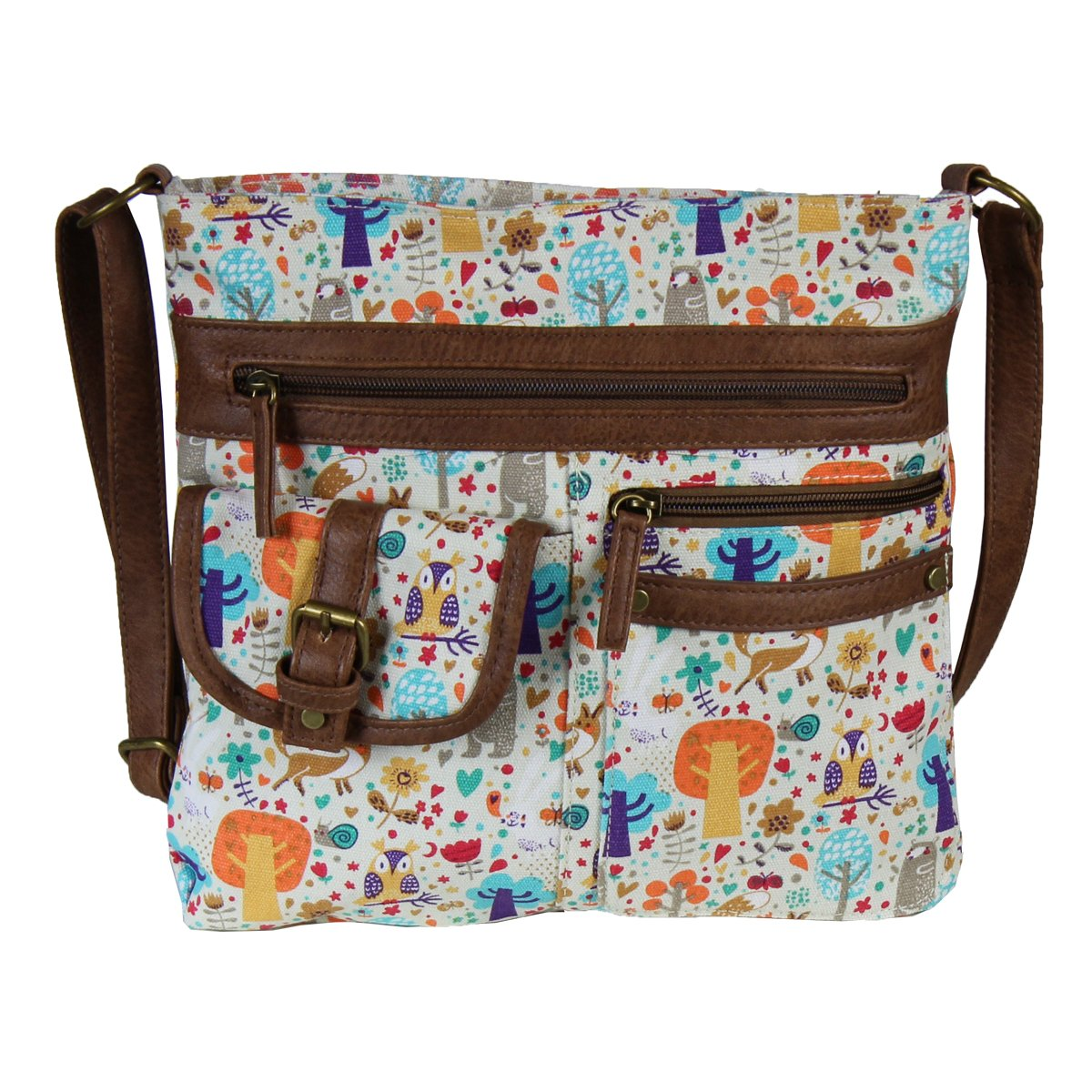 Whimsical Forest Crossbody Bag Organizer, Owl & Fox Handbag Purse, Cotton Canvas